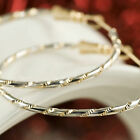 18K YELLOW WHITE GOLD GF PATTERN Round HOOP EARRINGS Solid WOMENS