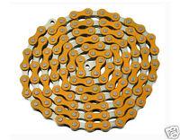 """YBN Bicycle Chain 1/2""""x1/8""""x112 Links Orange & Chrome BMX Lowrider Bike 123164"""