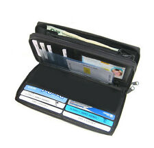 Black Zip Leather Credit Card Checkbook Organizer Women's Clutch Wallet New