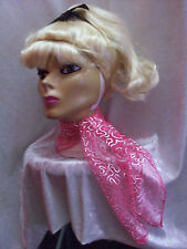 1950s Style Pink & Silver Scarf Rock & Roll Fancy Dress Pink Ladies Grease