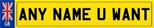 PERSONALISED NUMBER PLATE BOOKMARKS x1