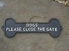 Cast Iron Plaque (DOGS PLEASE CLOSE THE GATE) - Metal Sign / Dog Bone / Garden