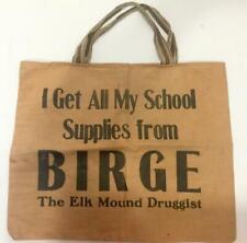 Rare Antq c1920 Elk Mound WI Childs Cloth School Bag/Birge Drug Store/Small Town