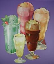 Original 1950s American Diner Paper Die Cut Signs - Soda/Floats/Shakes - Lot D