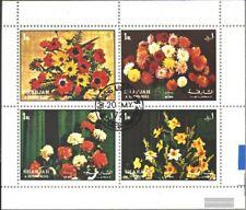 Sharjah 1216-1219 hoja miniatura (edición completa) usado 1972 flores II