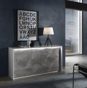 Modern High Gloss Sideboard Cabinet Italian White Grey Living Room Furniture