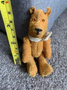 "Vintage Miniature German War Pocket Bear 4"" Brown Mohair Rod Jointed Center NR"