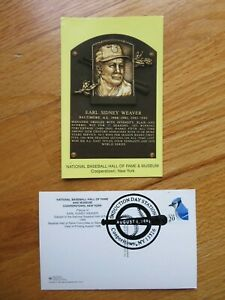 EARL WEAVER Induction HALL OF FAME Plaque August 4, 1996 CANCELED Stamp ORIOLES