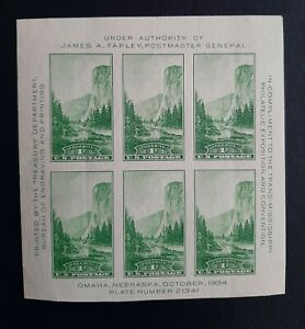 1934 Trans-Mississippi Philatelic Exhibition Stamp Sheet of 6 stamps #751