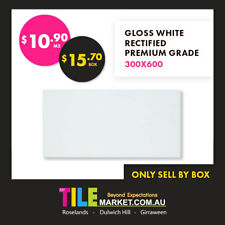 WHITE GLOSS RECTIFIED STRAIGHT EDGE CERAMIC WALL TILE 300X600 PREMIUM QUALITY
