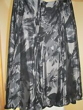 M & S Per Una Silver Grey Satin Look Skirt Flared Panel fully lined SIZE 14 REG