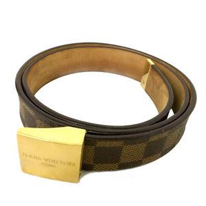 Louis Vuitton Damier Ceinture Brown Leather 85cm Mens Belt /B0678