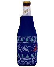 Christmas Pattern Zipper Beer Bottle Coolie; Santa, Reindeer, Ugly Sweater Party