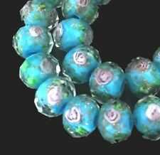 14 Czech Glass Faceted Rondelle Beads - Turquois Blue Encased Rose Flower 10x7mm