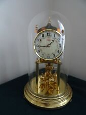 VINTAGE KUNDO GERMANY WIND UP BRASS MANTLE CLOCK WITH GLASS DOME - NO KEY
