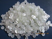 Small 9mm x 50 Clear White Ivory 2 Hole Baby Doll Shirt Buttons Knitting Sewing