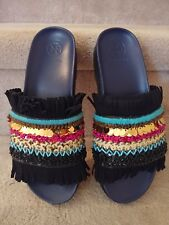 TORY BURCH Multi Colored Sequin Beaded Isle Slide Sandal Flip Flop NEW Size 7M