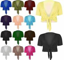 Ladies Plain Cap Short Sleeve Tie Up Front Bolero Shrug Cropped Cardigan Top8-22