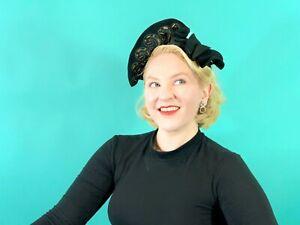 Vintage 1940s Halo Hat Black Beaded Pin Up Headpiece