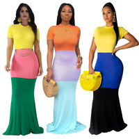 New Women Short Sleeves Colors Block Patchwork Bodycon Cocktail Party Maxi Dress