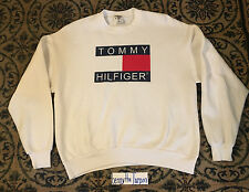 VTG 90s Tommy Hilfiger Big Box Logo Sweatshirt Sport Sailing Gear Polo USA XL