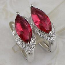 Nice Great Ruby Red Marquise CZ Gems Jewelry Gold Filled Huggie Earrings h2881