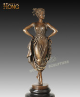 Art Deco Sculpture  A tap dancing girl Bronze Statue