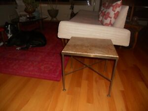Mid century handmade Italian marble & brass x base end table Paul Mccobb era