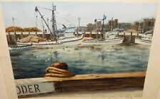 "BARBARA W. MASTERS ""IN PORT"" SAN PEDRO CALIFORNIA WATERCOLOR PAINTING DATED 1971"