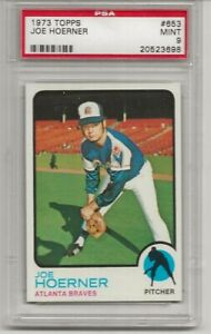 1973 TOPPS #653 JOE HOERNER, PSA 9 MINT, ATLANTA BRAVES, TOUGH,  L@@K !
