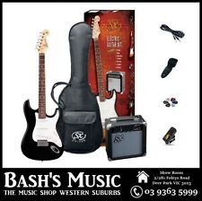 SX Electric Guitar Starter Package with Amp + Tuner + Bag Black