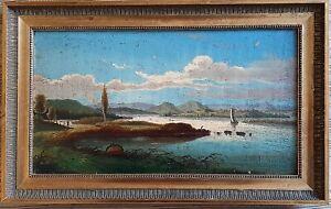 Romantik Biedermeier Gemälde Öl auf Holz Insel Reichenau im Bodensee
