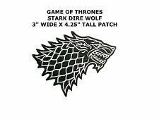 Game of Thrones Stark Direwolf Embroidered Iron-on / Sew-on Badge Patch New!