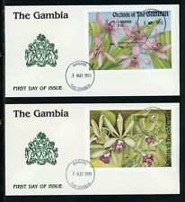 Gambia Scott #1522-1523 FIRST DAY COVERS (2) Orchids FLORA $$