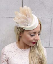 Beige Cream Silver Feather Pillbox Hat Fascinator Headpiece Vtg Races Clip 4300