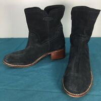 Used Diba True Black Suede Leather Womens Ankle Booties Boots sz 8 Pull On