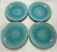 "Home Zazen Reactive Glaze Stoneware Blue And Brown Salad Plates Set Of 4 ""8 1/8"""