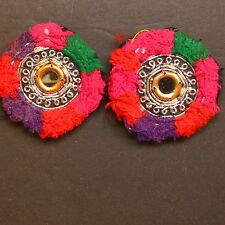 Matched PAIR BellyDance GUL Kuchi Tribal BEADED Medallions (XS) 838y4