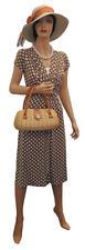Ladies Vintage style  WW2 Victory 1940s Wartime Brown Polka Dot Tea Dress