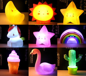 Battery LED Kids Room Night Light Bedside Table Lamp Creative Gift Cute Silicone