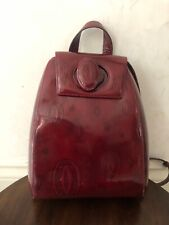 Vintage Authentic Cartier Leather Small Backpack Patent Logo Burgundy