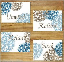 Blue Brown Floral Flower Bathroom Bath Wall Art Prints Decor Relax Soak Unwind