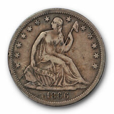 1866 S 50C Motto Liberty Seated Half Dollar Very Fine to Extra Fine #9558