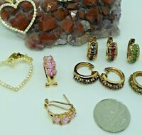 5 Pairs of Solid Sterling Earrings w/ Gemstones- ESTATE - NO SCRAP - Gold Washed