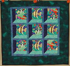 GORGEOUS Vintage Window Pane Fish Crib Quilt ~GREAT COLORS & UNUSUAL 3D DESIGN!