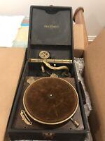 Vintage Brunswick Portable Record Player 1920's Phonograph Hand crank