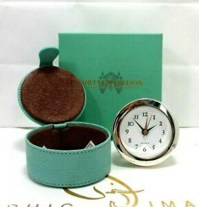 Fortnum & Mason Piccadilly Travel clock Quartz Leather Case New in Box
