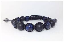 MEN'S Matte Black Onyx Blue Tiger Eye Gemstone Beads Shamballa Beaded Bracelet