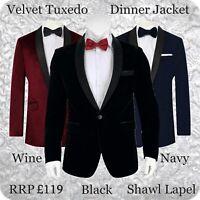 Mens Velvet Tuxedo Dinner Jacket Blazer Black Shawl Lapel Party Wedding Events