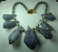 Statement Necklace  Huge Quartz Chunks & Aura Quartz Beads Mother of Bride